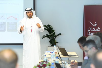 Hamad-Al-Mehyas-during-a-presentation-on-Daman-and-the-Abu-Dhabi-health-insurance-law